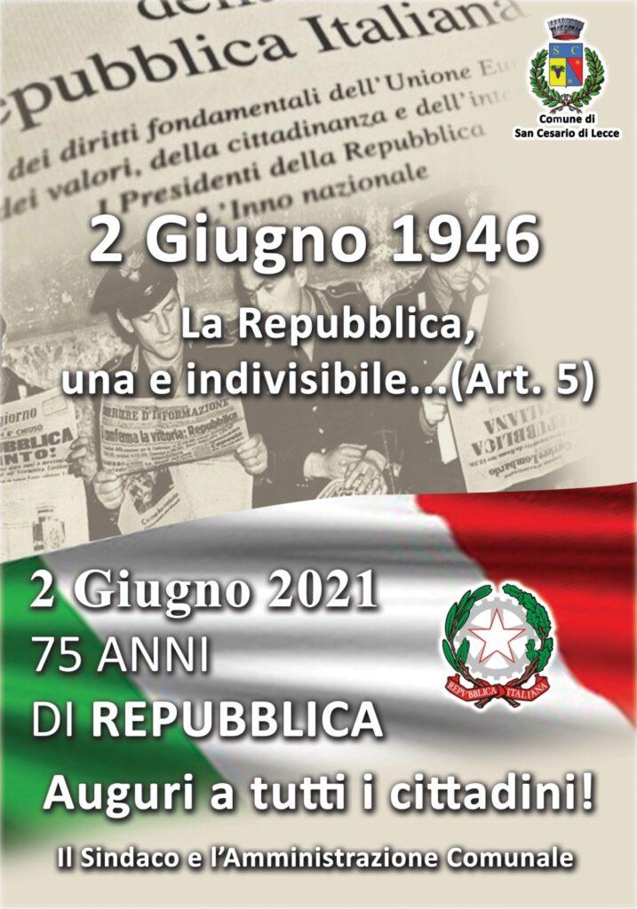 2 GIUGNO – 75° ANNIVERSARIO DELLA REPUBBLICA ITALIANA